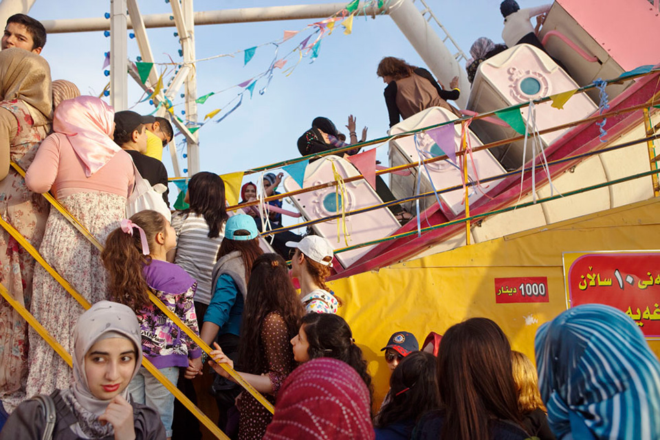 At an amusement park in Sulaimani, Iraq, located in the Kurdish semiautonomous republic.