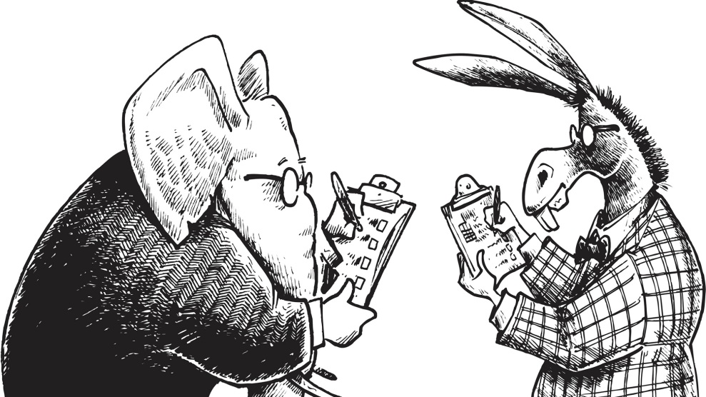 "Pen and ink style illustration of a democrat donkey and a republican elephant taking a poll. Layered and grouped for easy color edits. Scale to any size. Check out my ""Social Issues"" light box for more political views."