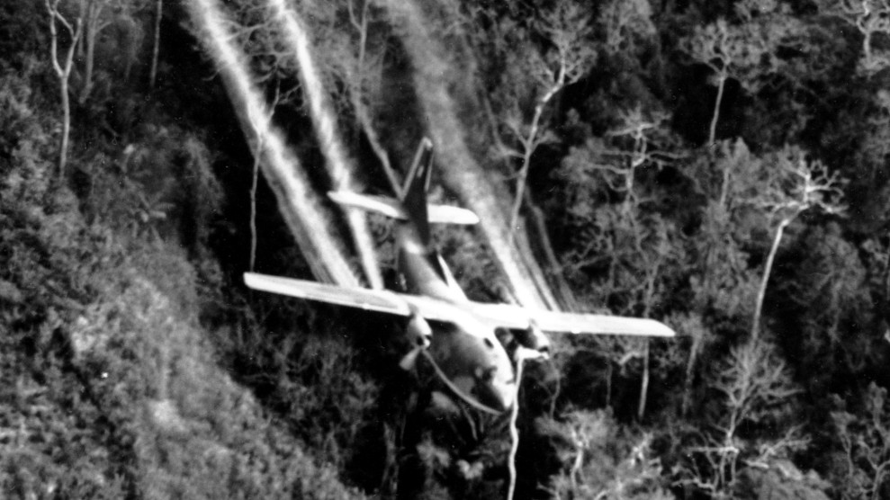 Air Force jet spraying defoliants in Vietnam in 1966.