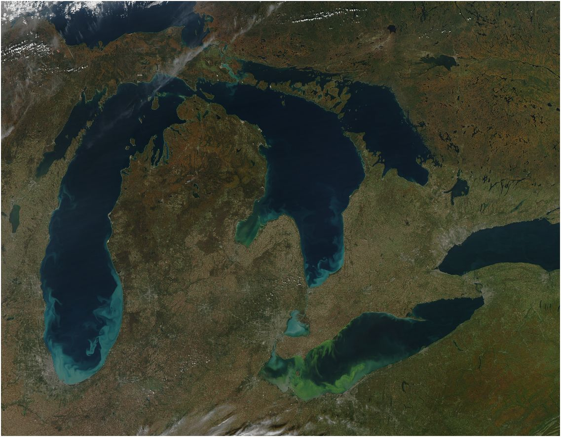 Satellite view of the Great Lakes