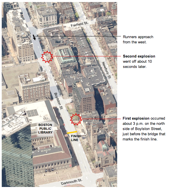 Boston Marathon explosions map