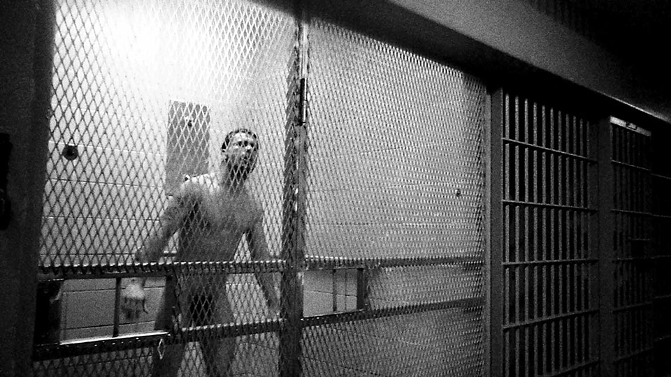 An inmate in seg after being pepper-sprayed by the SORT team.