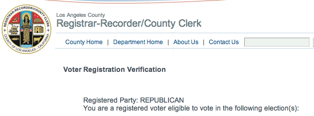 Donald Sterling Republican Registration from LA County