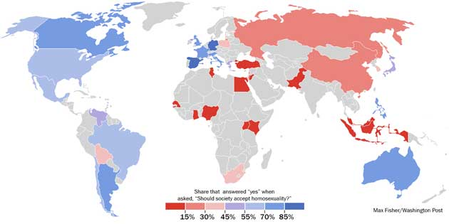Levels of gay tolerance in 39 countries