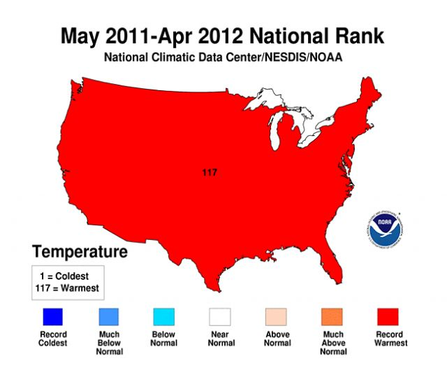 Average national temperature records May 2011 to April 2012: NOAA/NCDC