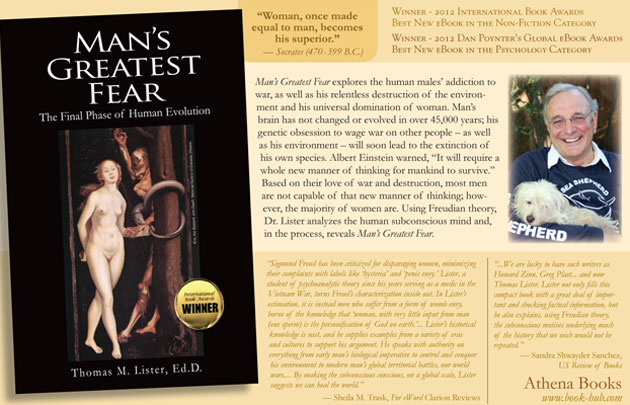 "Page 19 ad for a book about how ""men are not capable of [a] new manner of thinking; however, the majority of women are."" Athena Books"
