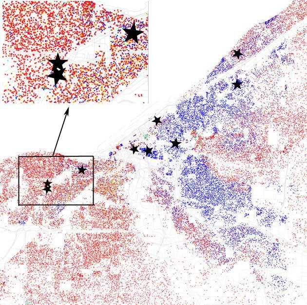 "Location of ""VOTER FRAUD IS A FELONY!"" billbords in Cleveland Eric Fischer/Josh Harkinson"