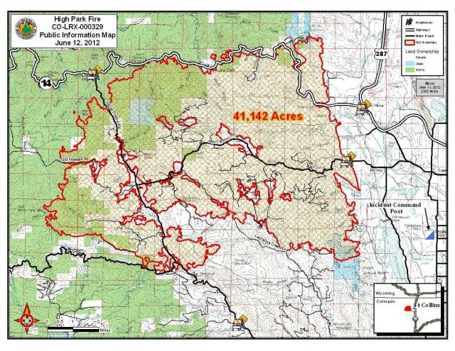 High Park Fire, Colorado, burn map as of 6 June 2012 (click for larger version): USFS