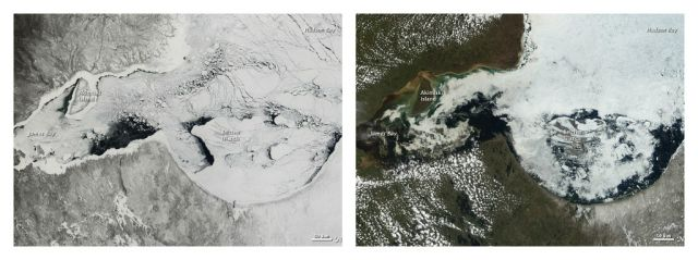 Hudson Bay melting ice and snow. Left: 06 April 2012. Right: 05 June 2012:eft NASA Earth Observatory image by Jesse Allen using data obtained from the Land Atmosphere Near real-time Capability for EOS (LANCE).