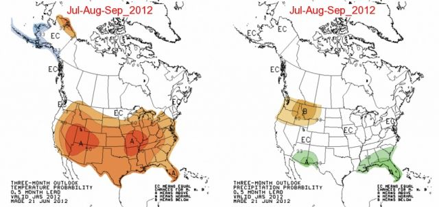 July to September temperature and precipitation predictions (click for larger version): NASA | Climate Prediction Center