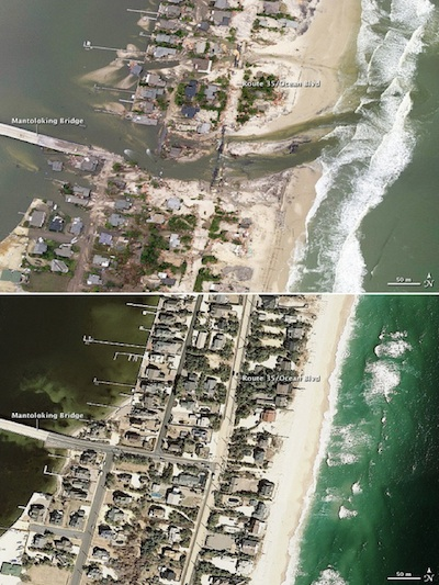 After-and-before Sandy photographs from coastal New Jersey.  NASA Goddard Photo and Video/Flickr