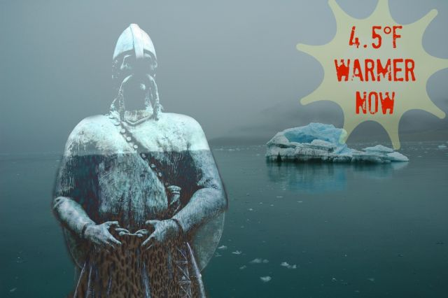 Since 1987 summers on Svalbard have been up to 4.5°F (2.5°C) hotter than they were there during the warmest parts of the Medieval Warm Period: Svalbard landscape: Wen Nag (aliasgrace) via Flicke. Viking statue: frankdouwes via Flickr. Mashup: Julia Whitty (thanks PicMonkey!)