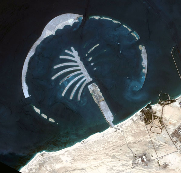 A satellite photo of 'Jebel Ali Palm Island,' the second Palm Island to be built off the coast of Dubai. Eventually, three palm-shaped artificial islands will be built in the Dubai area. The first one, 'Jumeira Palm' is almost completed.