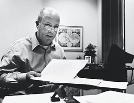 Joe Church, Shelley's friend and advocate, in his Morgan Stanley office