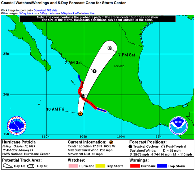Hurricane Patricia warning cone